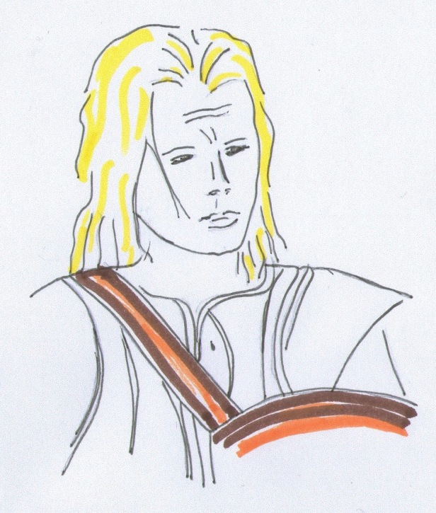 Sketch of Brad Pitt as Achilles in the battle of Troy from Homer's book the Iliad