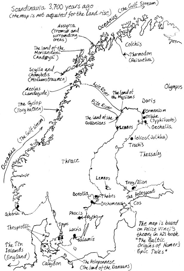 Map Scandinavia during the Bronze Age. Ilion – the cay will come when scared Troy must die A book by Malena Lagerhorn