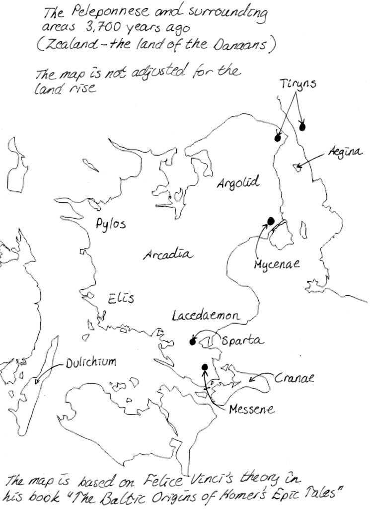 Map of Zealand, Denmark, in the Bronze Age. In the book Heracles – A Psychopath's Tale, by Malena Lagerhorn