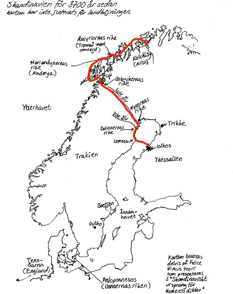 Karta för boken Uppdraget, Serien om Jason och Medea, Förlag: Bookea, Malena Lagerhorn, Skandinavien, bronsåldern