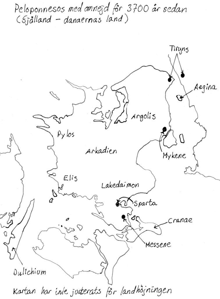 Karta över Själland, Danmark, under Bronsåldern. Boken Herakles – en psykopats berättelse. Utgiven av Saga Egmont, författare: Malena Lagerhorn