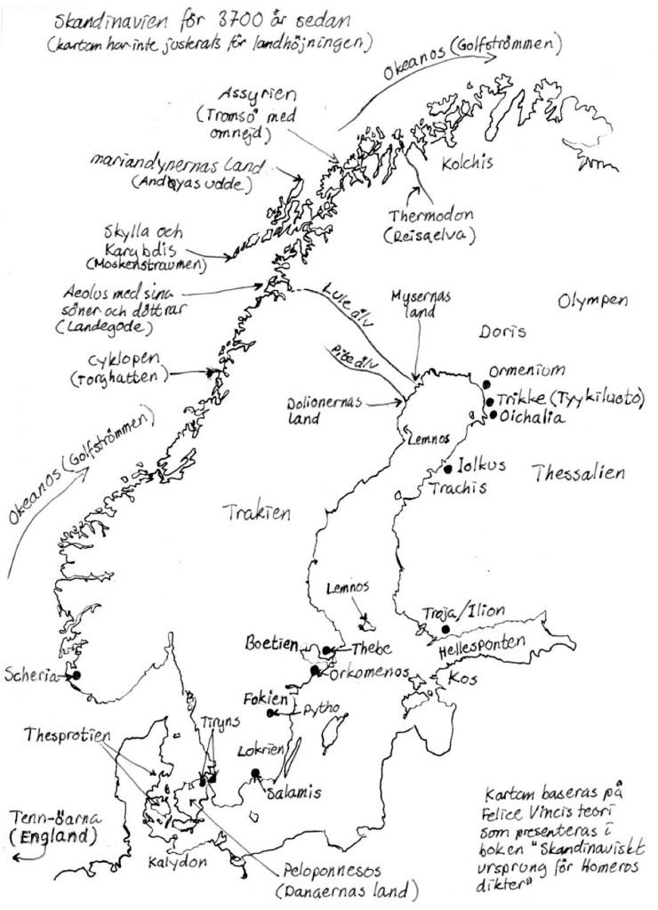 Karta: Herakles – en psykopats berättelse. Av Malena Lagerhorn. Förlag: Saga Egmont. Karta över Norden under bronsåldern
